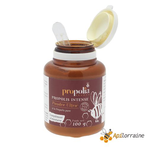Poudre de propolis Ultra 100gr ouvert POUPROP100 apilorraine/propolia