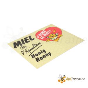 Panneau miel PVC 500 x 400 mm coeur rouge/abeille