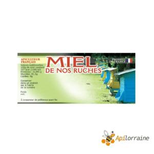 100 etiquettes adhésives miel de nos ruches (modèle ruches) - 116 x 50 mm
