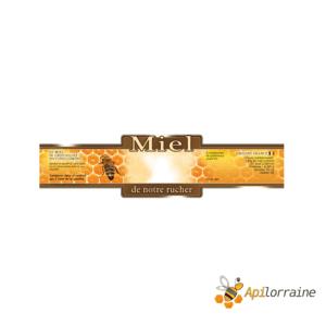 100 etiquettes adhésives miel de notre rucher (modèle jaune) -185 x 55 mm